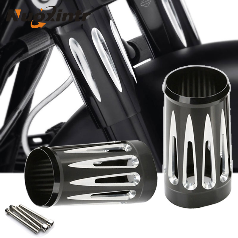 New Black Aluminum Fork Boot Slider Cover Cast Chrome Fits For Harley Turing And Trike Models 1980-2013 Road King Street Glide aluminum water cool flange fits 26 29cc qj zenoah rcmk cy gas engine for rc boat
