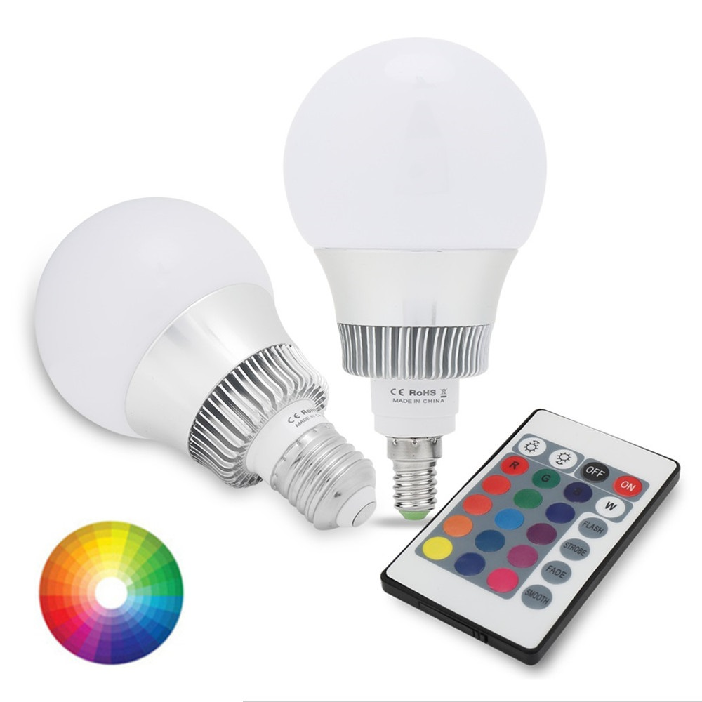 все цены на NEW RGB E27 E14 10W RGB LED Lamp 110V 220V 230V Remote Control 16 Color Change Lampada LED Bulb онлайн