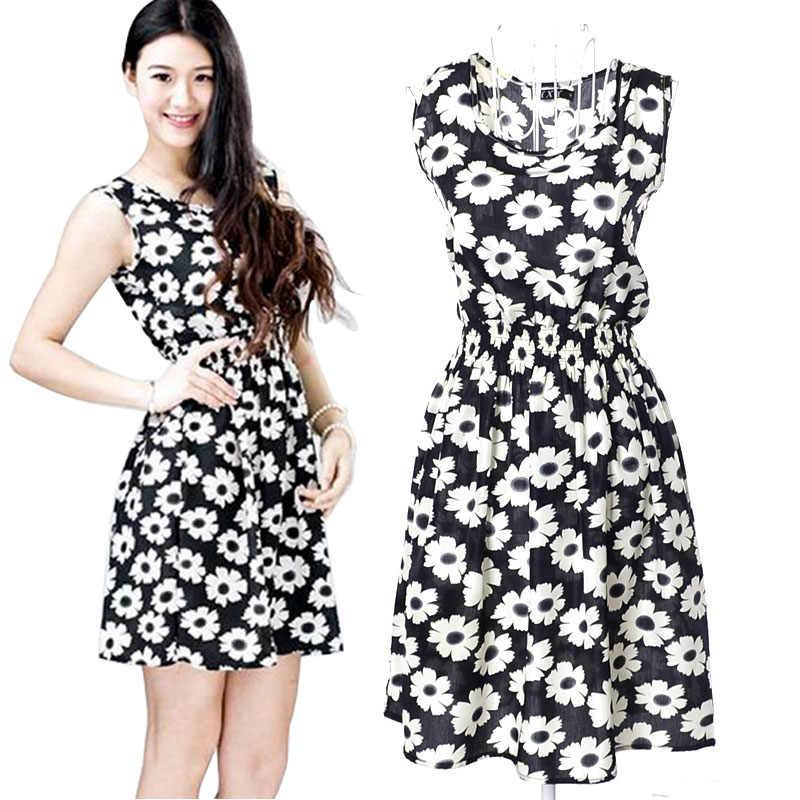 Korean style Summer Printing FlowerSOLID Women Ladies Casual Chiffon Sleeveless Beach Dress vestidos de fiesta