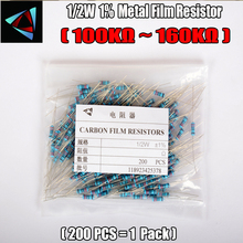 1/2W Watt 1% (200pcs/lot) Metal Film Resistor  100K 120K 130K 150K 160K Ohm