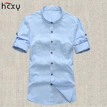 Мужская летняя рубашка hcxy из хлопка и льна с короткими рукавами