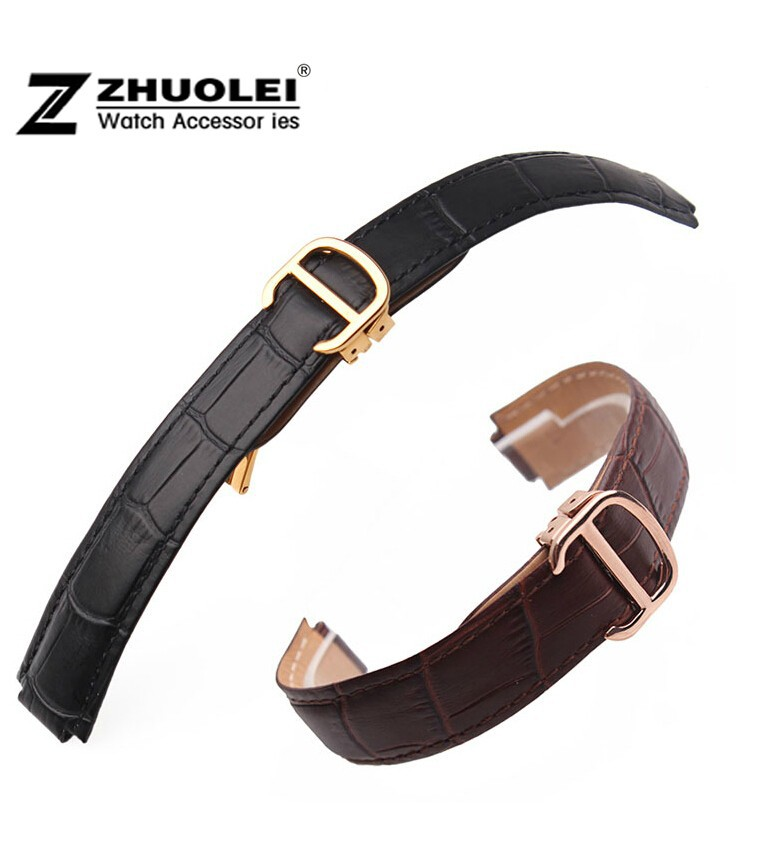 18mm(11mm Watch Lug) High Quality red Brown Genuine Leather Watch Band Strap Gold deployment Buckle Clasp fit watchband