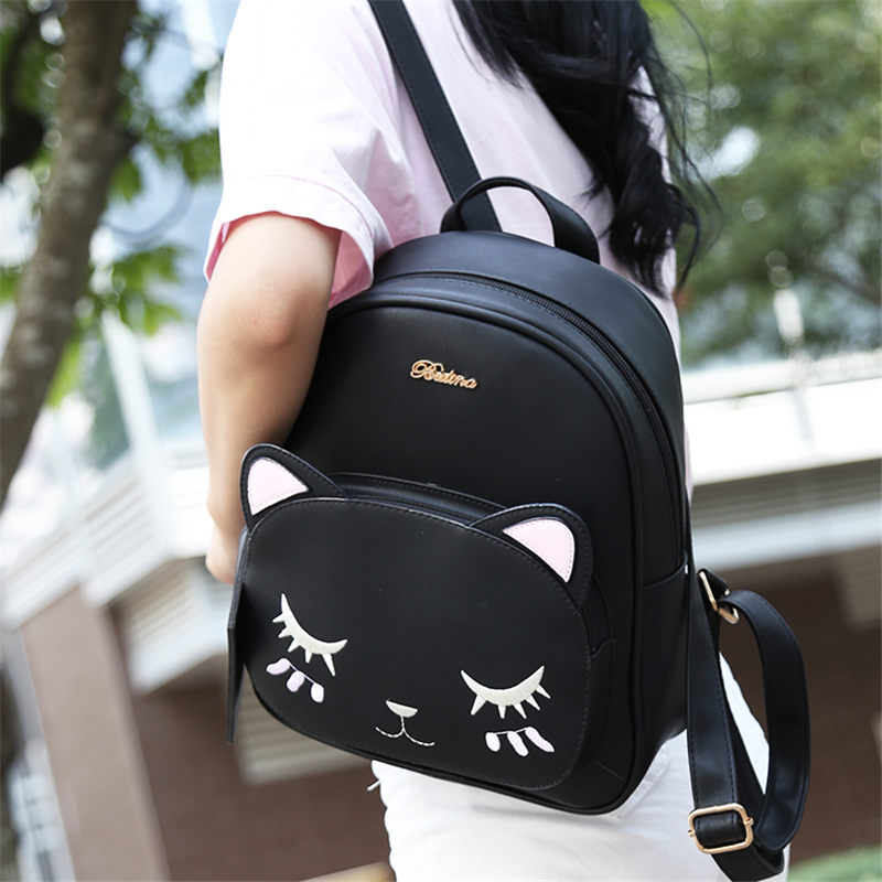 21club brand women black cat rucksack cute shoulder composite bag hotsale lady purse shopping bags preppy style student packpack 4