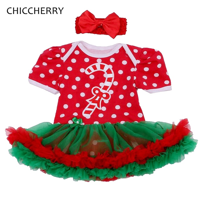 Candy Canes Christmas Costume for Girls Infant Menina Lace Tutu with Headband Infant Robe Bebe Fille Newborn Baby Girl Clothing