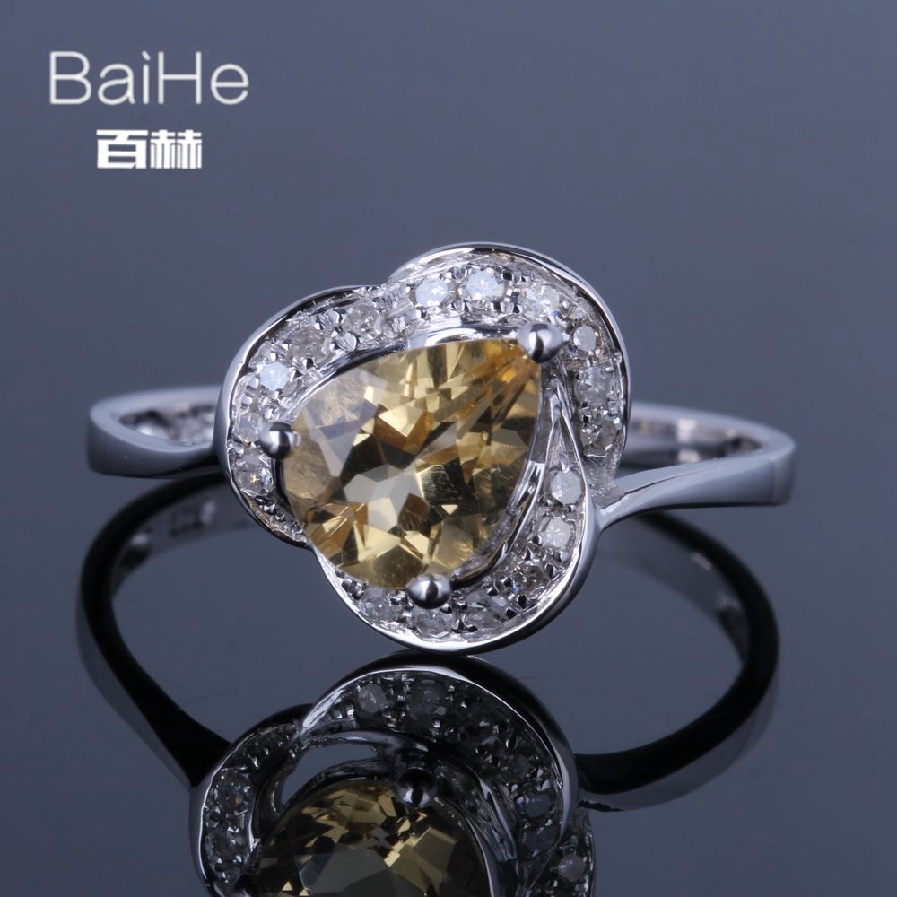 BAIHE Sterling Silver 925 0.92CT Certified Yellow Flawless Pear Genuine Natural Citrine Wedding Women Trendy Fine Jewelry Ring BAIHE Sterling Silver 925 0.92CT Certified Yellow Flawless Pear Genuine Natural Citrine Wedding Women Trendy Fine Jewelry Ring