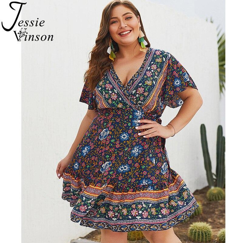 d63efeb8ed5 Jessie Vinson Short Sleeve V-neck Boho Print Plus Size Dresses for Women  4XL Bohemian