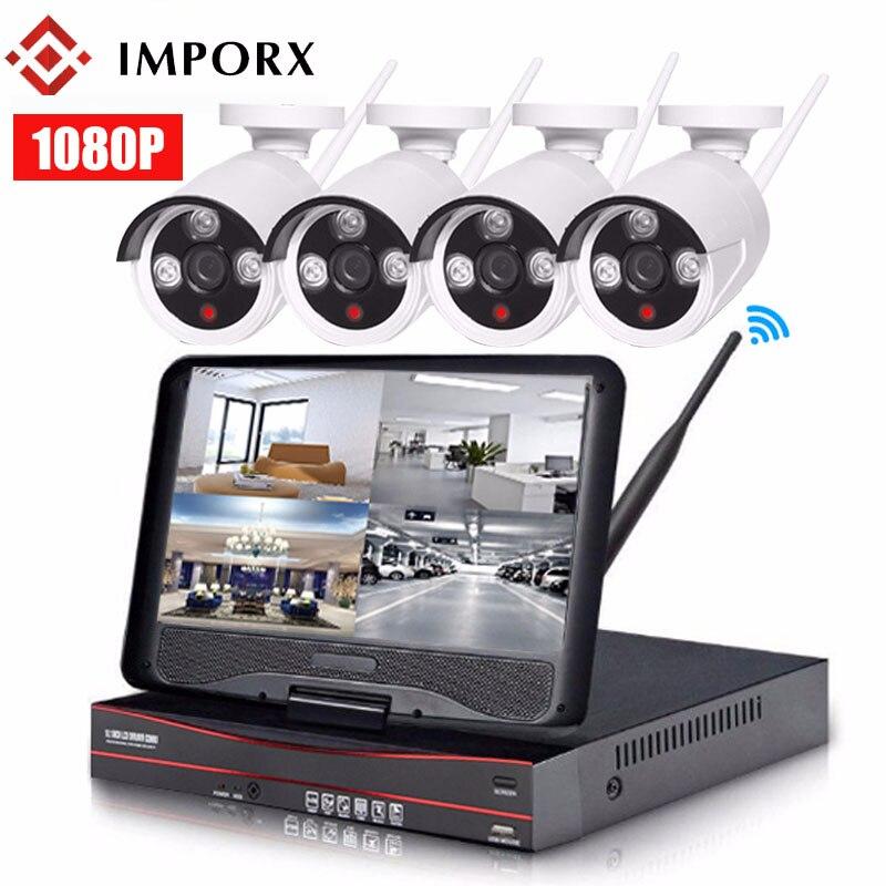 "IMPORX 4CH 1080P Wireless NVR Kit NVR IR Night Vision 2MP Security CCTV IP Camera Outdoor Wifi Surveillance System Kit 10"" LCD|Surveillance System|   - title="