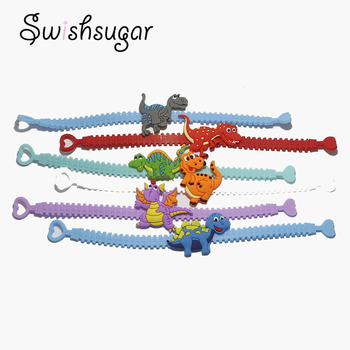 10pcs Dinosaur Rubber Bangle Cute Animal Bracelet Birthday Easter Holiday Party Kids Children Girl Boys Wristband Gift Favor