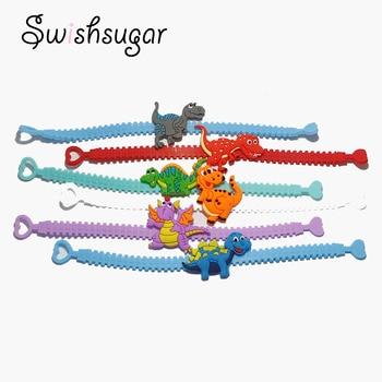 10pcs Dinosaur Rubber Bangle Cute Animal Bracelet Birthday Easter Holiday Party Kids Children Girl Boys Wristband Gift Favor