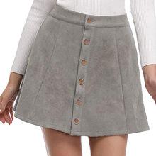 1693a4e61524 JAYCOSIN 2019 Spring Office Lady School Women Short Skirt Button A-line  Corduroy High Waist