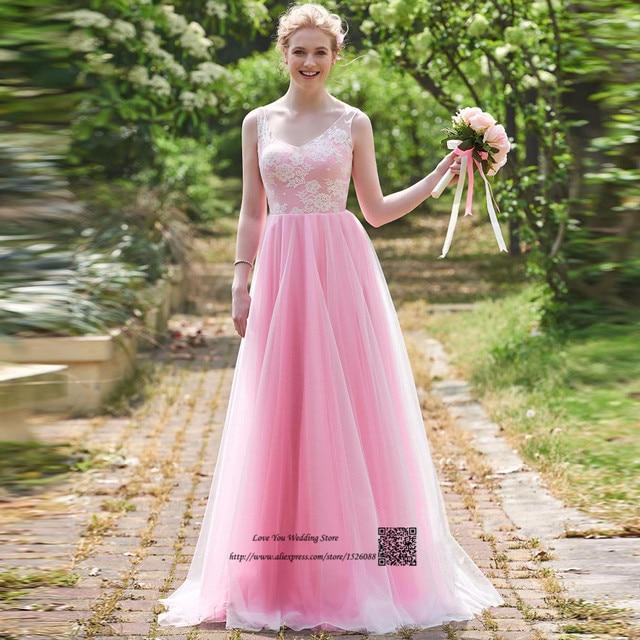 Romántica Rosa de dama de Honor Vestidos de Novia de Encaje Blanco ...