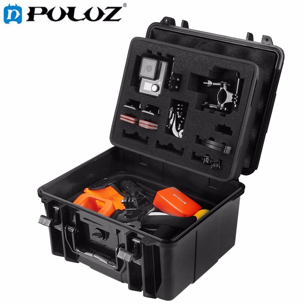 PULUZ Waterproof Dual Layers Portable Carrying Case stocker box for GoPro HERO5 Black edition/ 4 3+ 3 2 1 Xiaoyi,Size:28x25x16cm hiinst black portable and durable waterproof portable carrying storage aluminum alloy case box for spark drop aug15