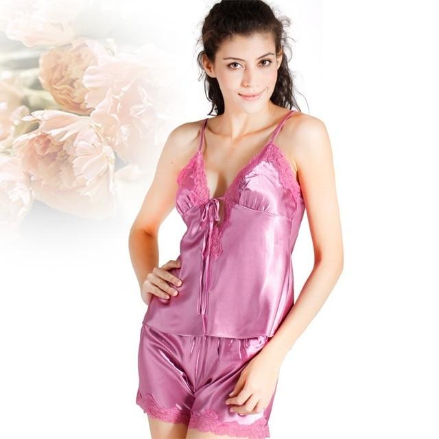 0cdc706ac4 Women s Silk Shorts Deep V-Neck Sexy Lace Satin Silk Pajamas for Women  Summer Nightie Sleepwear Sexy Satin Pajama Shorts