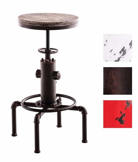 Red Brown Industrial Bar Stool Solid Round Wood Seat Chair Pipe - Cafe table and chair dimensions