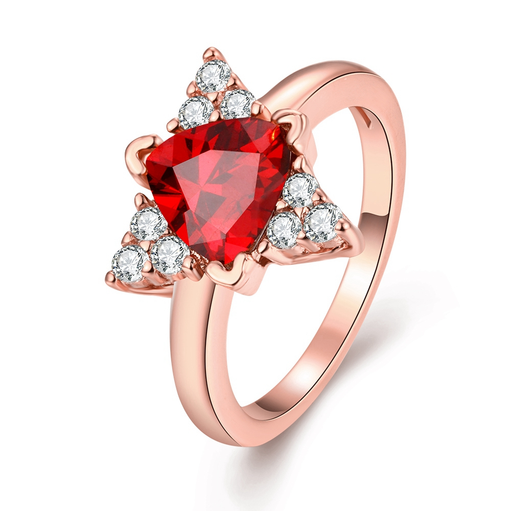 Exquisite Wedding Engagement Cz Diamond New Jewelry Rose Gold Ruby Triangle Austrian Crystal Women Girls Fashion Jewellery Ringsin Rings From: Triangle Ruby Wedding Rings At Reisefeber.org