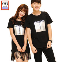 82729ec68 2019 Lovers T-Shirts Boyfriend Girlfriend Tops Preppy Style Short Sleeve  Casual Top Print Black Matching T Shirt Couple Clothes