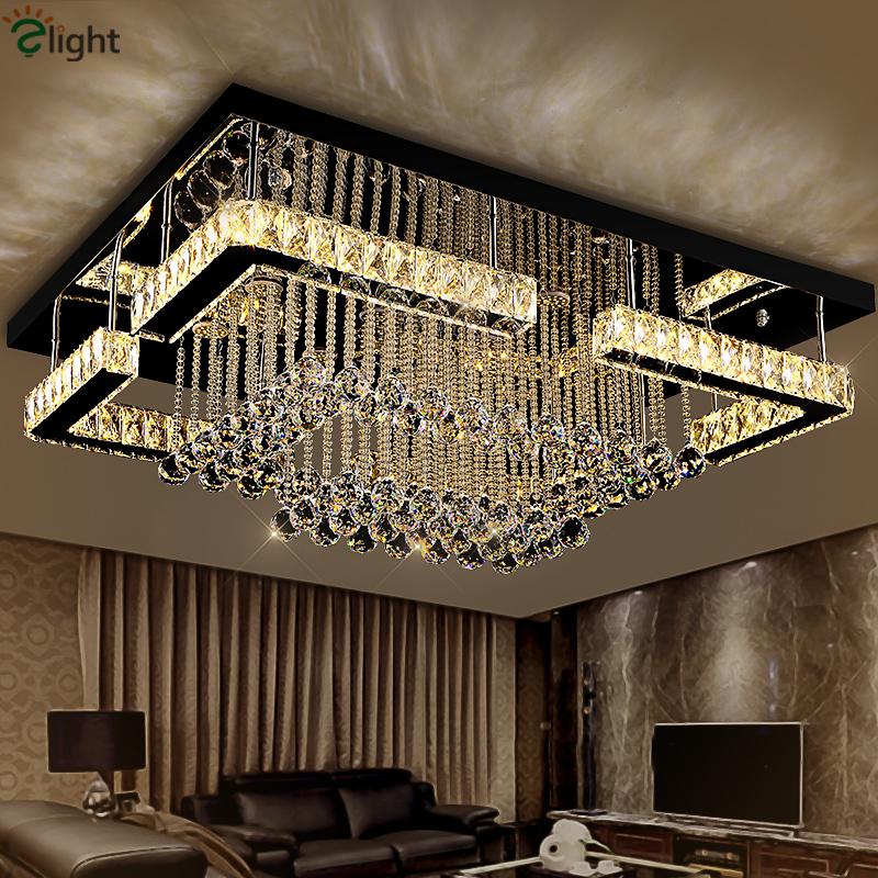 Modern Luxury Square Lustre K9 Crystal Led Chandelier Remote Control Dimmable Luminaria Ceiling Chandelier Living Room LamparasModern Luxury Square Lustre K9 Crystal Led Chandelier Remote Control Dimmable Luminaria Ceiling Chandelier Living Room Lamparas