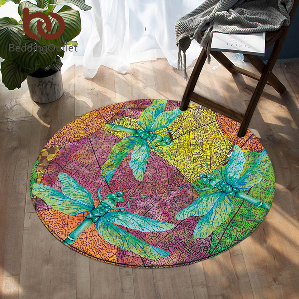 BeddingOutlet Dragonfly Round Carpet Leaf Stems Area Rugs Nature Beauty Colorful Insect Print Floor Mat Non slip 150cmDropship|Carpet| |  - title=