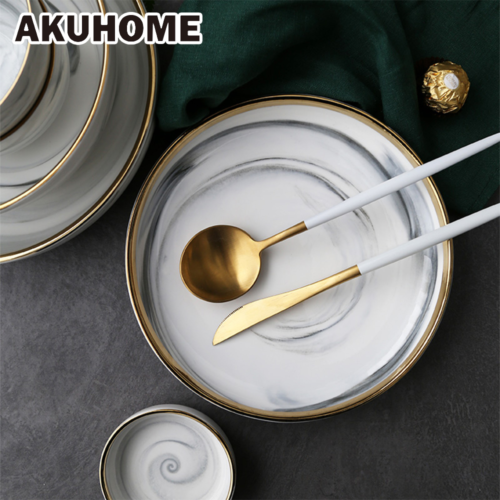 2PCS OR 4PCS Golden European Ceramic Bowl Soup 7 8 9 Inch Home Plate Akuhome