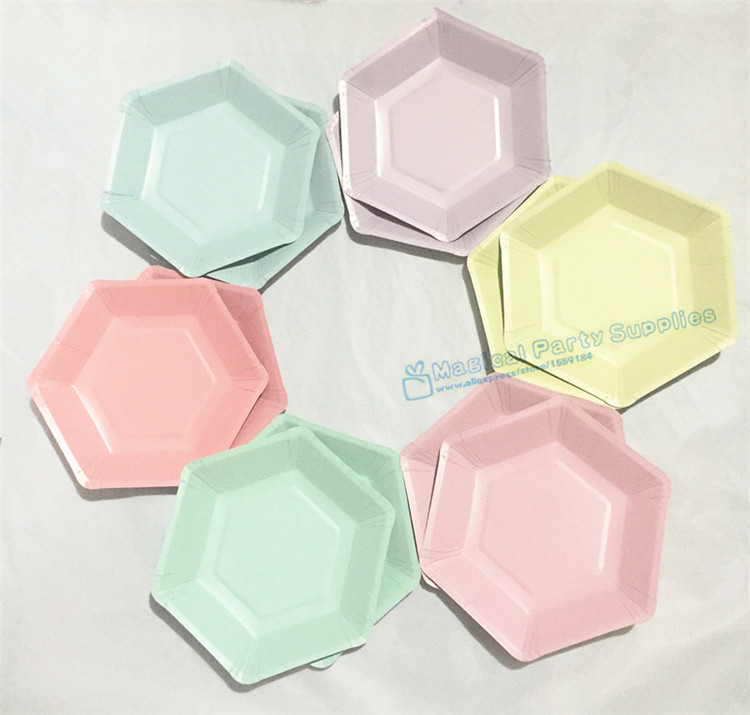 120pcs Solid Hexagonal Paper Plates Party Tableware Modern Geometrical 7 Dessert Dishes Pastel Pink Mint Blue