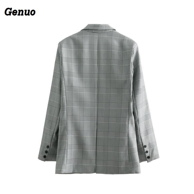 Genuo Fashion single breasted plaid blazer Long sleeve slim fit office ladies blazer 2018 Autumn coat women blazers feminino
