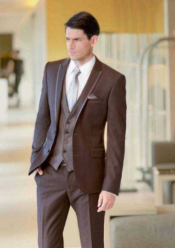 ⊹Custom Made Brown Groom Tuxedos Slim Fit 3 Pieces Mens Wedding ...