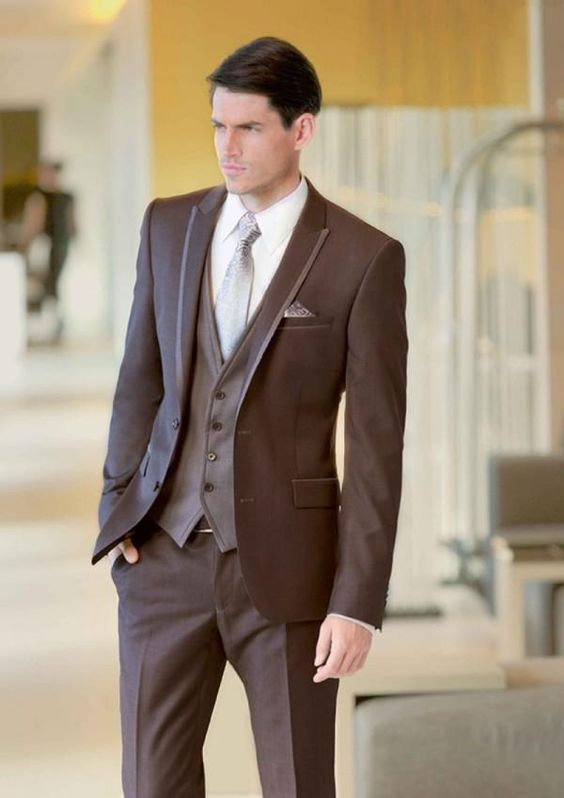Prom Marron Slim Party 2016 Made Groomsman De Blazer 3 Brown Smokings Marié Hommes Pièces Fit Costume Mariage Custom Costumes Masculino Meilleur Homme FPq71wXRw