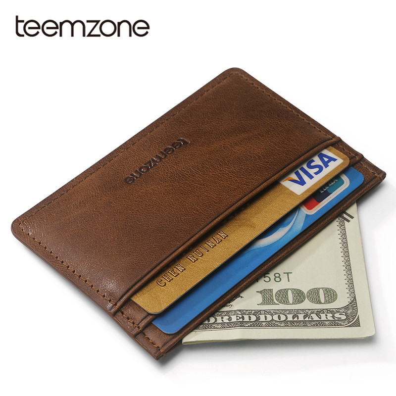 Teemzone Super Slim Men Women Wallet Business Leather Mini Credit Card Wallet Bank Card Case ID Card Holder Unisex Purse K862 2018 pu leather unisex business card holder wallet bank credit card case id holders women cardholder porte carte card case