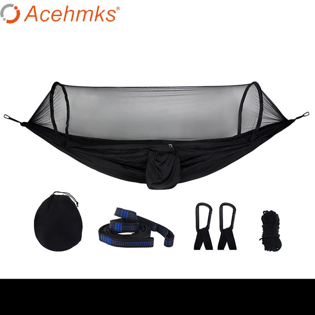 Acehmks Two Person Sleeping Hammock Garden Swing Hammock With Mosquito Net camping Outdoor Furniture Solid Color Matching