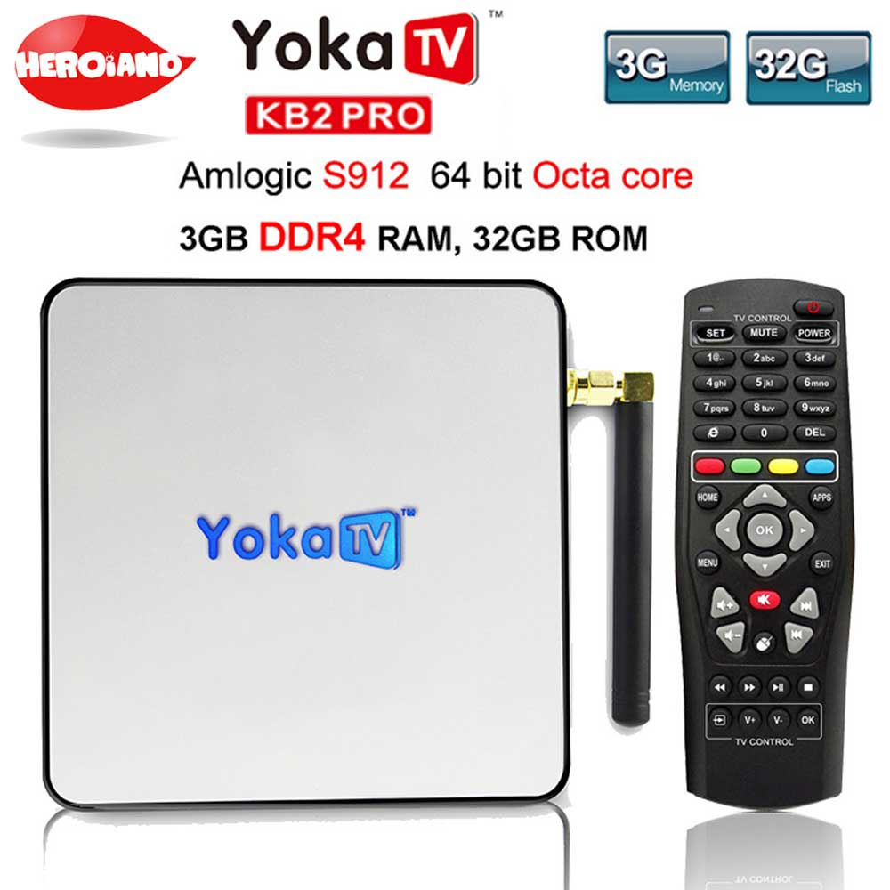 YOKA KB2 PRO Android 6.0 Octa Core 3GB 32GB smart TV Box Amlogic S912 for BT 4.0 Streaming Media Player set top box PK KII PRO 3gb 32gb android 7 1 smart tv box csa93 amlogic s912 octa core wifi bt4 0 4k 1000m lan streaming smart media player i8 keyboard