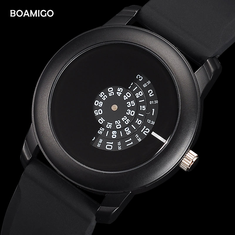 men watches Extremely simple quartz watch BOAMIGO fashion casual rubber wristwatches 2017 creative gift clcok relogio masculino