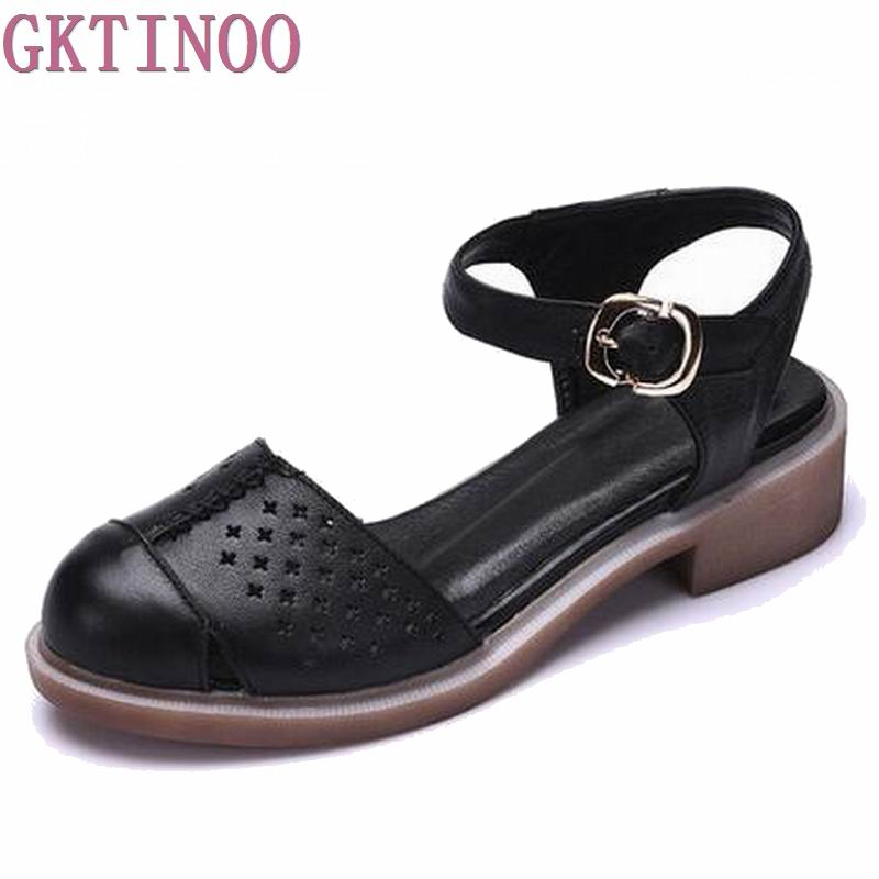 Women shoes summer sandals female handmade genuine leather women casual comfortable woman shoes sandals women summer shoes Y-067 female sandals summer 2017 new genuine leather women sandals flat pregnant women casual students shoes female