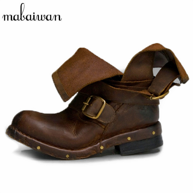Mabaiwan Vintage Cow Leather Women Ankle Boots Black Brown Round Toe Thick Heel Flat Booties Rivets Studded Botas Militares women ankle boots medium heel genuine leather booties vintage thick suede round toe chunky shoes slip on platform brown fall