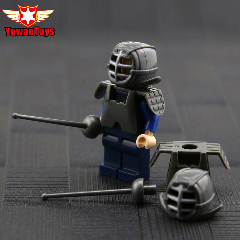 Fencing Set Blocks War Figure Army Police Navy Swat War Brave Warrior Cavalry Weapon Set Building Blocks Toy For Kids