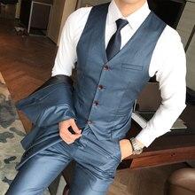 2018 hombres Trajes Chaquetas + Pantalones + Chalecos azul gris caqui  negocio boda banquete hombres de gran tamaño 4xl 5xl Venta. 0886d85f7ef4