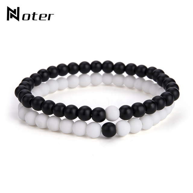 2 Pcs/Set Natural Stone 6 mm Small Beads Couple Bracelet
