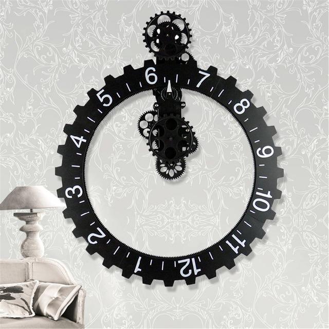Black/Silver Color Retro Modern Mechanical Large Art Gear Quartz Wall Clock Antique Vintage Home Office Decor