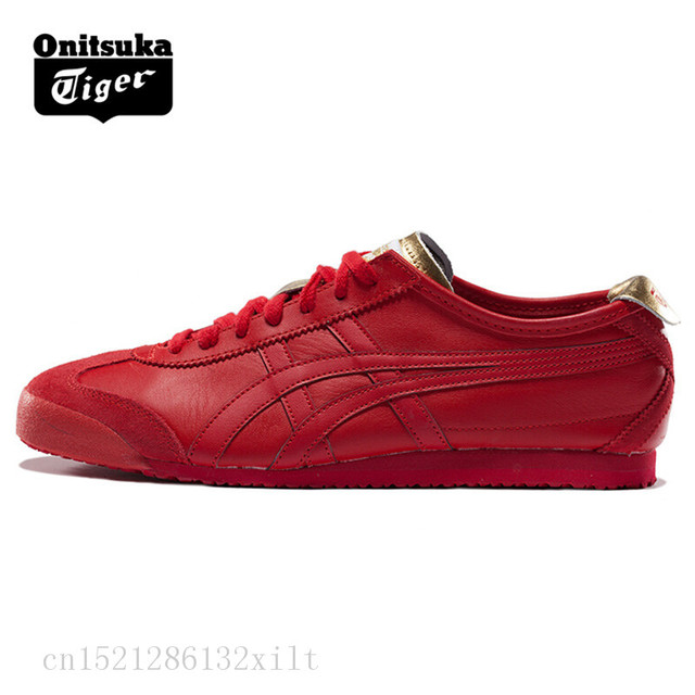 free shipping ad5e2 0a690 US $69.36 |ONITSUKA TIGER MEXICO 66 Men Women Shoes Red gold Leather Rubber  Hard Wearing Travel Street Low Sneakers Badminton Shoes-in Badminton Shoes  ...