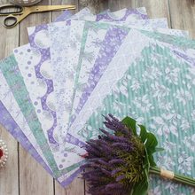 24sheets 12 DIY purple Lavender Garden design gift wrapping paper creative craft handmade scrapbooking set