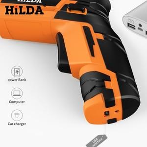 Image 3 - HILDA Беспроводная электрическая отвертка Бытовая аккумуляторная батарея отвертка Мини дрель электрическая дрель электроинструменты