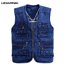 Men Multipockets Denim Waistcoat Safari Style Jeans Vest Plus Size XL-4XL Blue Gilet V-Neck Sleeveless Tops 226-115