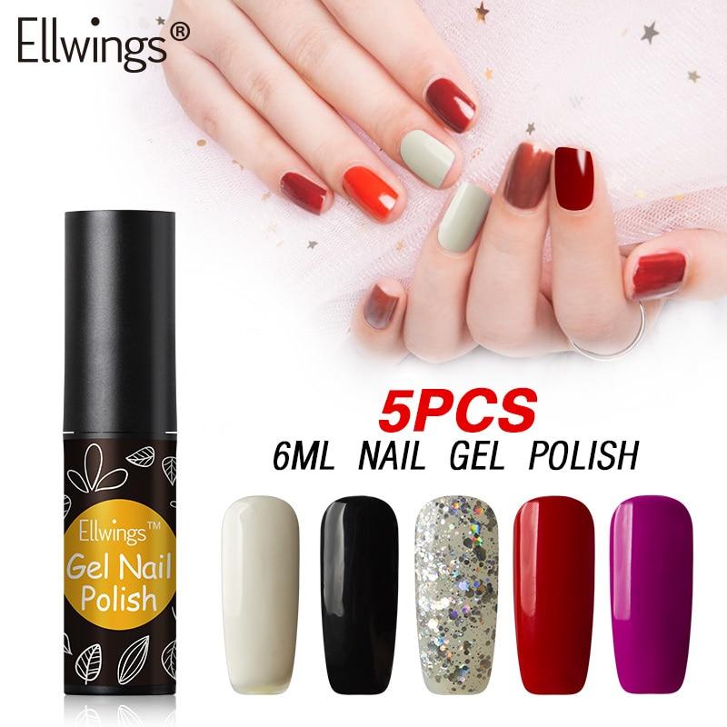 Ellwings 5pcsset 29 Colors Pure Colors Nail Gel Polish Glitter Long Lasting Soak Off  UV Gel Nail Lacquer Set