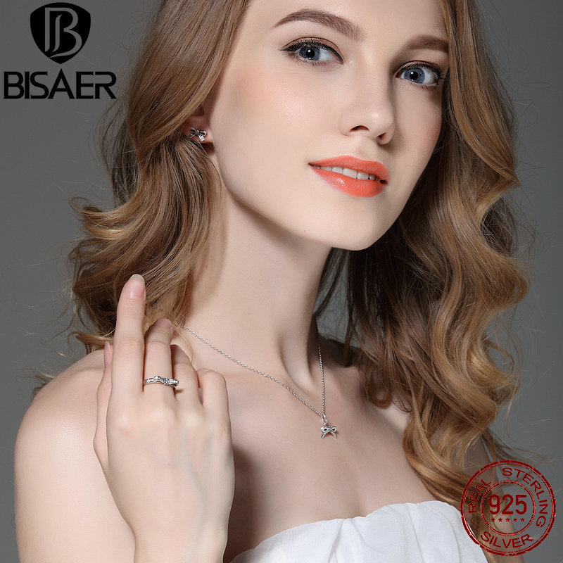 Image 2 - Genuine 925 Sterling Silver Jewelry Set Sparkling Bow Knot Stackable Ring Jewelry Sets Sterling Silver Jewelry WES022silver jewelry setsterling silver jewelry setjewelry sets -