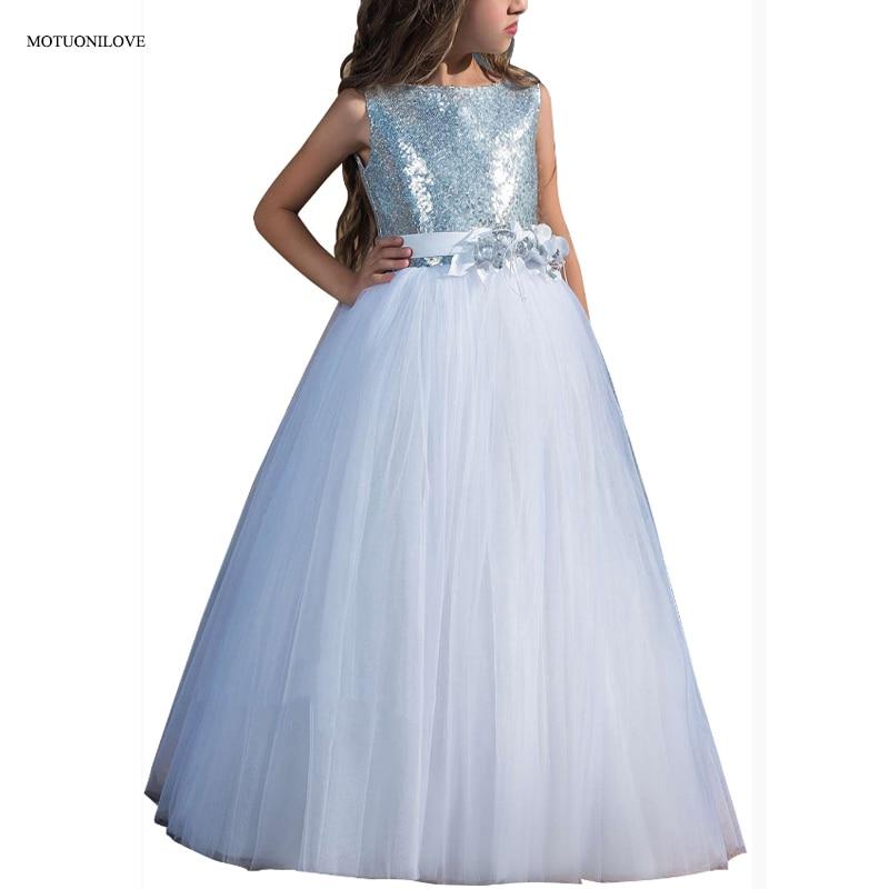 Sequined Soft Tulle Tutu Floor Length   Flower     Girl     Dresses   Children Kids Evening Prom Gowns For Wedding First Communion   Dresses