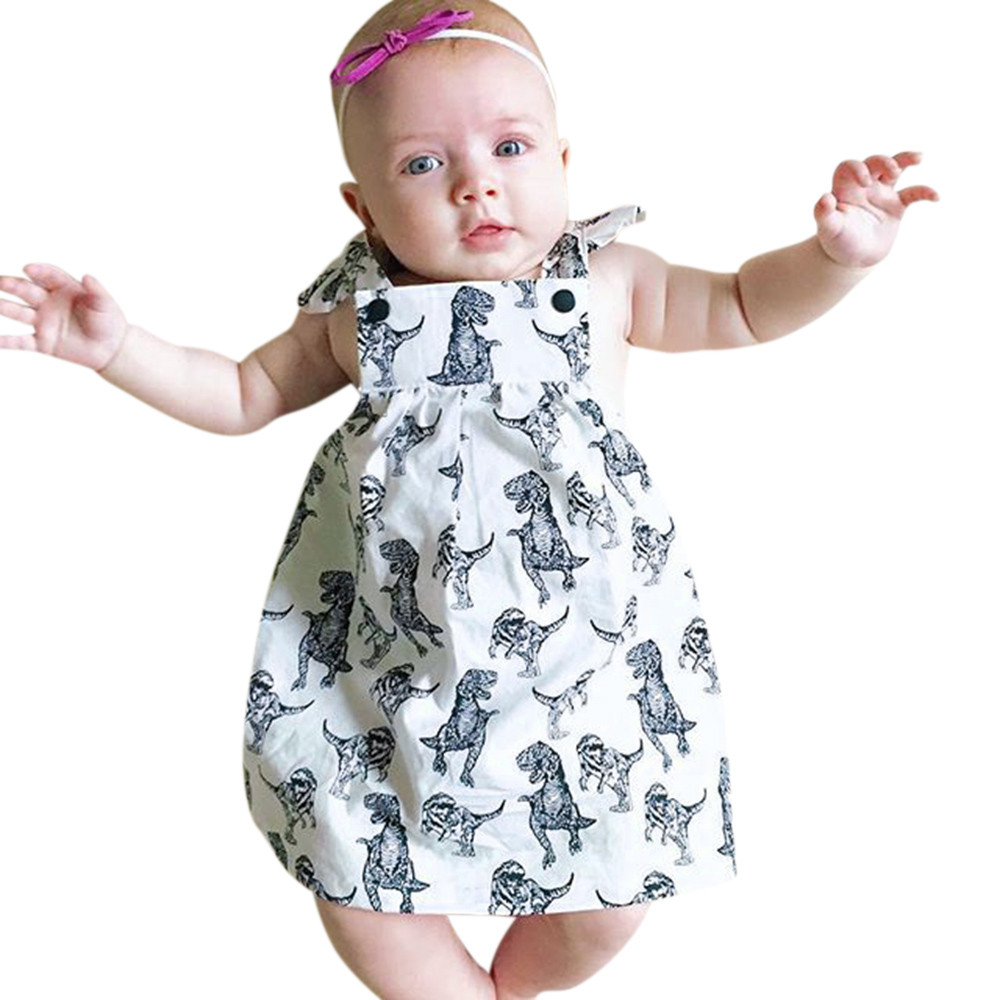 2018 Fashion Infant Toddle Baby Girls Dinosaur Bow Cartoon Sleeveless Clothes Princess Dress Comfortable soft vestidos infantil