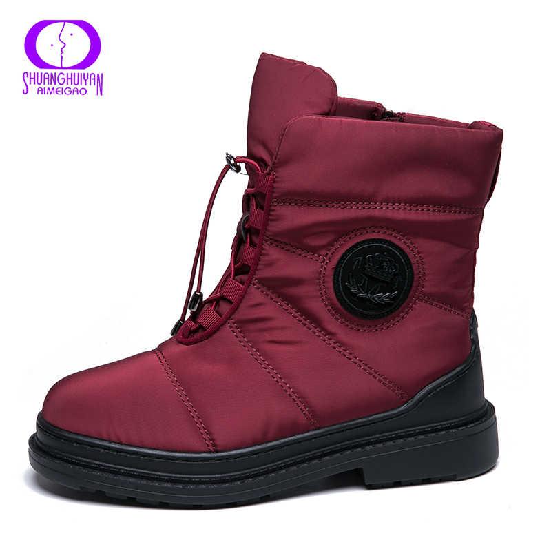 AIMEIGAO Hohe Qualität Warme Pelz Schnee Stiefel Frauen Plüsch Sohle Wasserdicht Stiefel Plattform Heels Rot Schwarz Winter Frauen Stiefel
