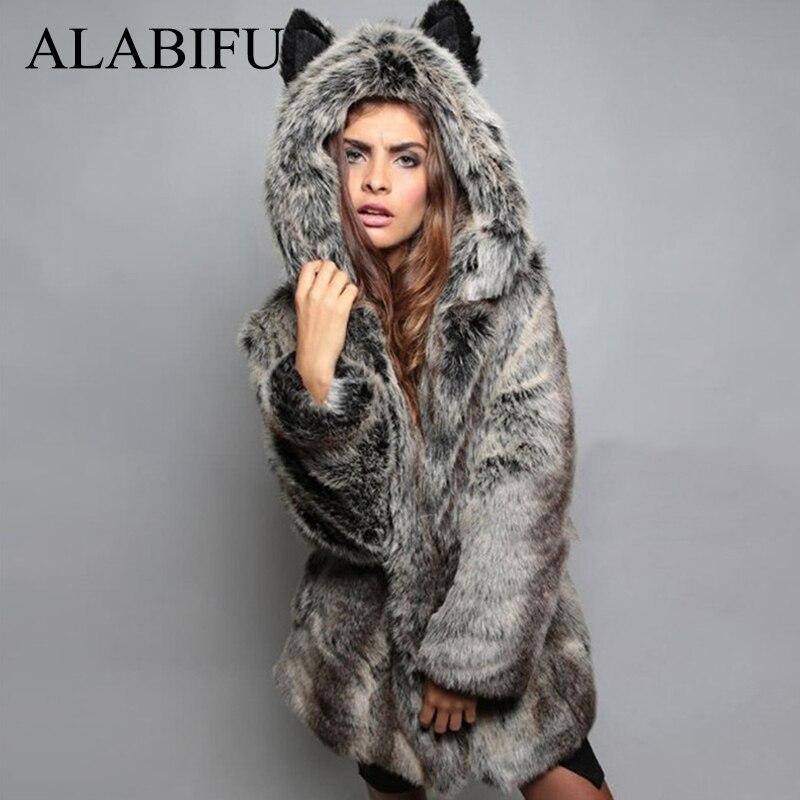 ALABIFU Winter Women Faux Fox Fur Coat 2018 Casual Plus Size Hooded Fur Jacket Coat Cat Ear Warm Long Sleeve Jacket Overcoat 3XL