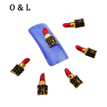 10pcs New Design Sexy Lipstick 3d Metal Nail Decorations Nail Art Tools Charms Scrapbooking Accessories