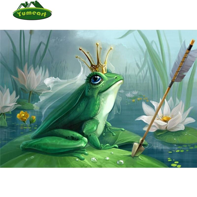 Žába Prince Crown 3D pohádka styl obrázek DIY diamantová malba zvíře Diamond výšivky scenérie Lotus rybník mozaika vzor  t