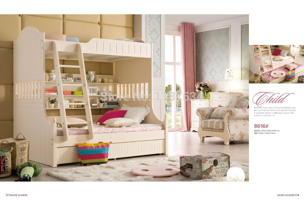 8616 Home furniture bedroom furniture princess bed wooden factory price 1.5m bunk double bed twin bed